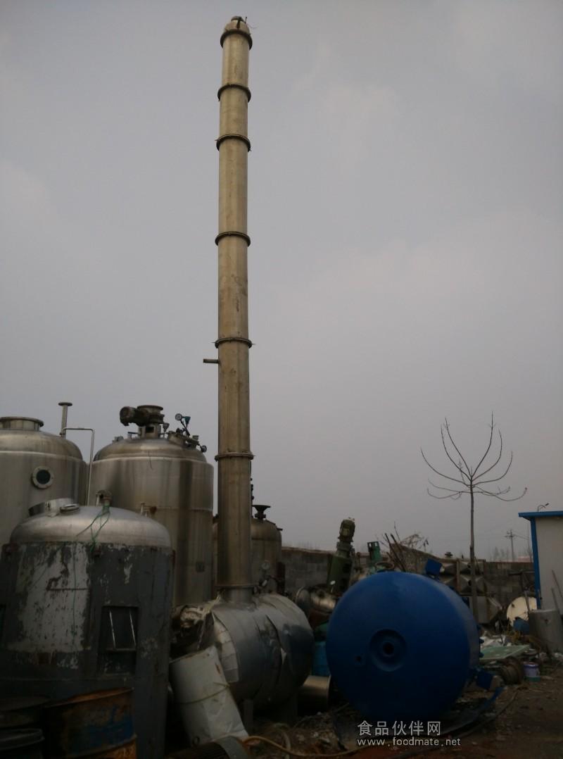 二手酒精蒸馏塔,二手不锈钢酒精回收塔出售